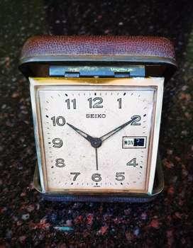 SEIKO_Vintage Travel Alarm Clock_Antique_Timepiece_Pocket Watch_Foldin