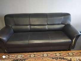 Sofa set black leather