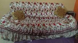 7 Seater Used Sofa Set with Cotton Covers Sale