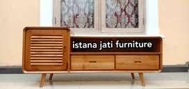 Meja bufet retro kayu jati solid ( bufet meja tv )