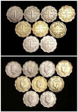 George 6 one Anna full set 1939 to 1947 Total 9 coin