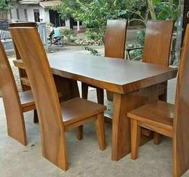 Meja makan trembesi kursi jati