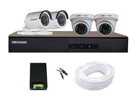 Hikvision Full HD (2MP) 4 CCTV Camera & 4Ch.Full HD DVR Kit (All Acces