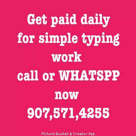 Simple data typing work from home