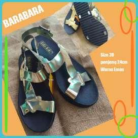New Sepatu Sendal Emas BaraBara