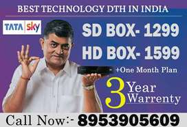 TATA SKY BRAND NEW BOX SD HD CONNECTION-AIRTEL DTH DISH D2H TATASKY