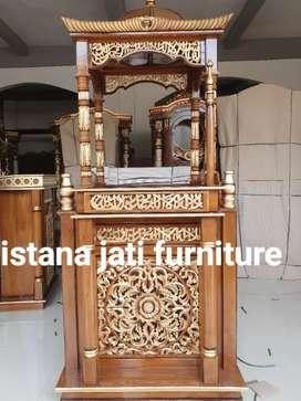 Tersedia mimbar masjid khutbah masjid finishing warna wood impra