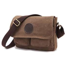Bagus Dxyizu Tas Selempang Messenger Bag Bahan Canvas  1008  Brown Ter