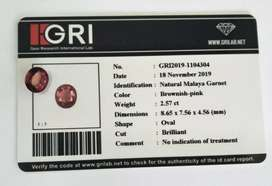 Bersertifikat GRI 2,57 ct Natural Malaya Garnet Brownish Pink