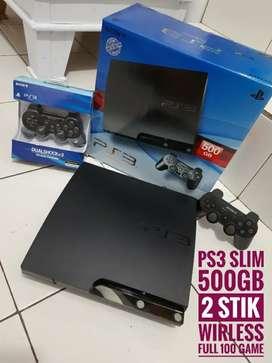 [DIJUAL] PS3 Slim sesuai foto hd 500GB / 2 Stik/ 100 game