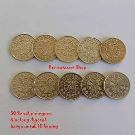Uang koin 50 Sen Diponegoro 10 pcs Kondisi Cuci