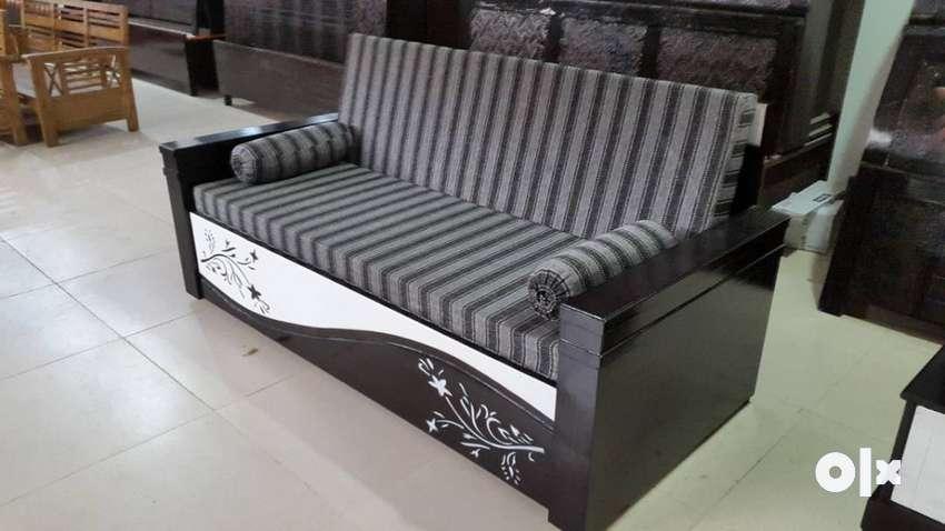 New designer wooden sofa cum bed with bonded hard mattress