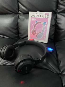 Cat Ear M6 Headphone Gaming Bluetooth Wireless Cat Ear Headset Black