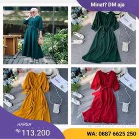 DRESS WANITA FODYA IARS-274 Warna: Hijau botol, Mustard, Maron,