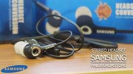 Headset Handsfree Earphones Stereo Bass Mic Samsung Hitam Putih Murah