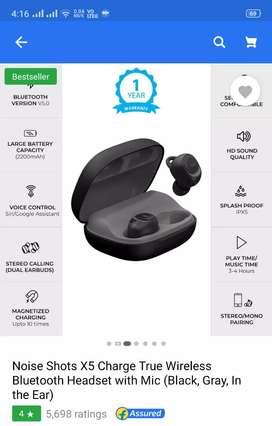 NOISE Shorts X5 Wireless earpods and charging case.5000rs/-flipkart