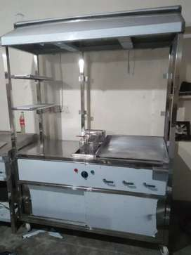 Counter stainless steel with fryer+hotplate