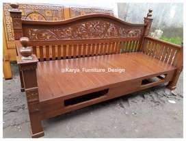 bale bale jati, daybed kayu ukir minimalis jepara kf-9490