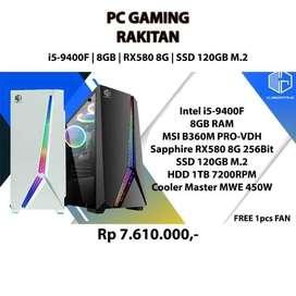 PC GAMING RAKITAN i5-9400F GEN9! | 8GB | RX580 8G | 120GB SSD M.2