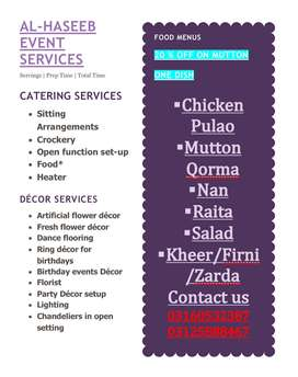 Catering / Food / Decoration / Lighting / Event Planner