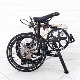 New Sepeda Lipat Element Troy X 9 Speed Warna Cream Terbaru Gen 4 2020