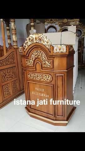Mimbar masjid brown alami istana jati hhd66