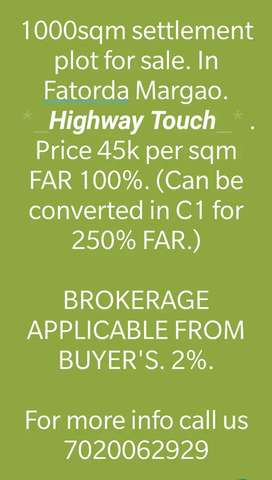 1000sqm Settlement Highway Touch plot for Sale @Fatorda