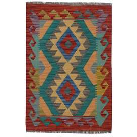 #3462 Authentic Hand Knotted Vegetable Kilim 100% Wool (89 x 61)
