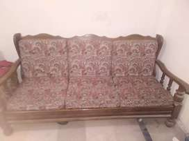Wooden sofa with five seaters