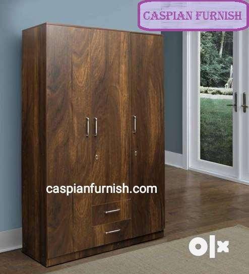 Caspian Furniture :- 3 door wood finish wardrobe 0