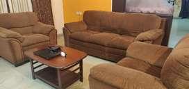 Brown Fabric 5 seater sofa