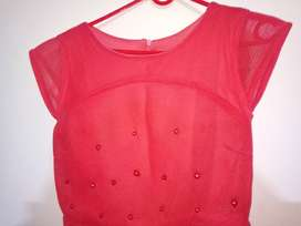 Party Wear One peace Silky Red