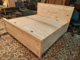 Kingsize Pinewood double bed with 6x6 box