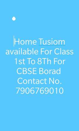 Home Tusion Available For Class Nursery To 8th Of CBSE Board