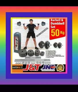 alat fitness gym dumbel barbel set 50 kg promo