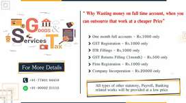 Accounts,GST return,IT returns and any other service for 1000/-