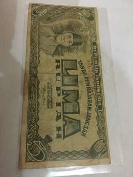 uang kuno 5 rupiah tahun 1947