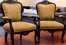 Beautiful Victorian Chairs | Two Seater | Dark Brown Wood