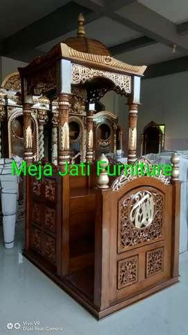 Mimbar masjid ukir R68 natural feed