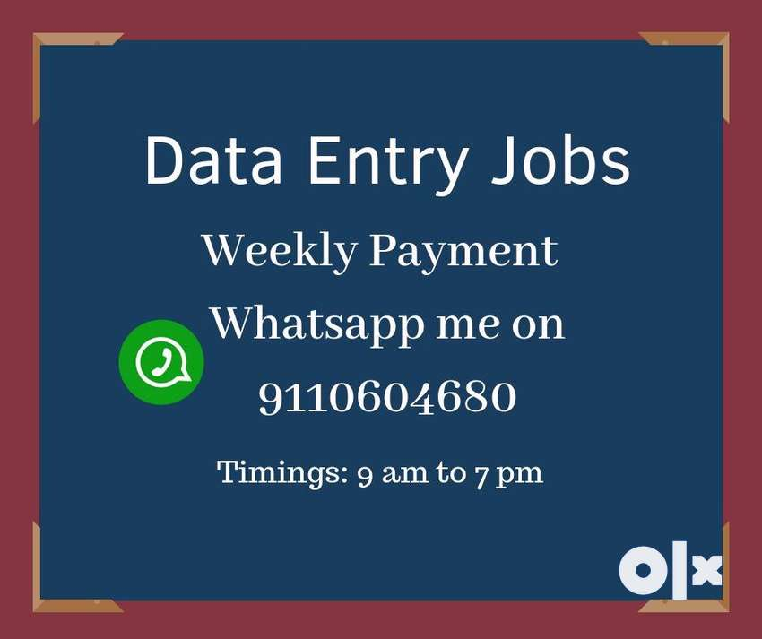 Easy offline DATA ENTRY work with weekly payment. 0