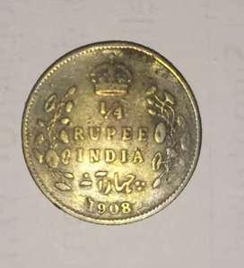1908 Indian ¼ Rupee