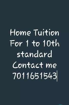 Home Tuition Available for 1 to 10th standard for all subject.