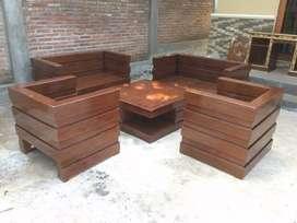 Kursi tamu box minimalis kayu jati ready stok