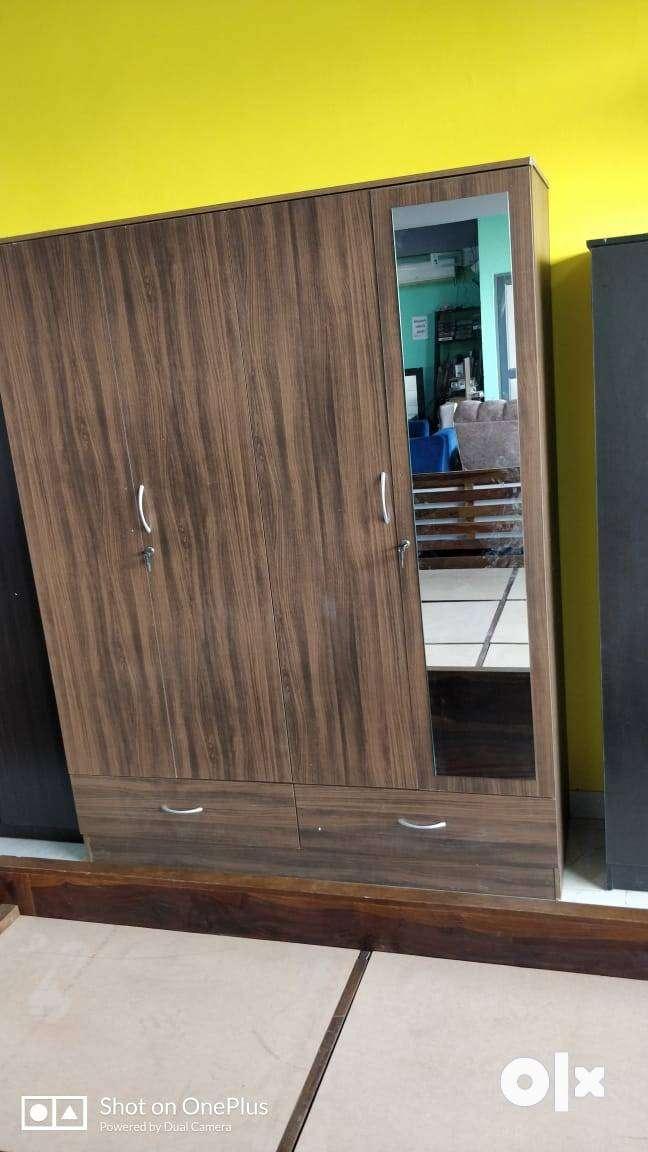 APEX Engineered Wood 4 Door Wardrobe With Mirror
