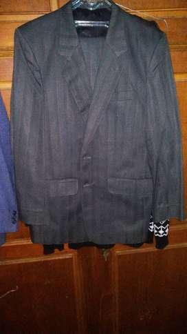 Jas warna Abu rancangan casual satu set celana