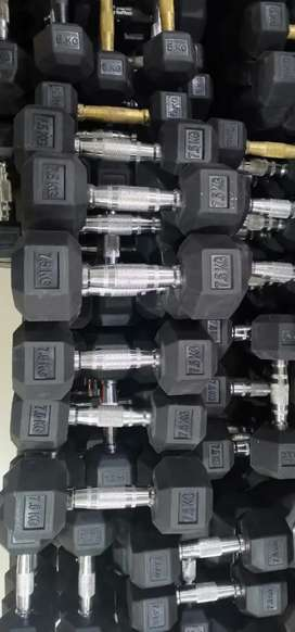 Hexagon Dumbells, all sizes in stock ,COD