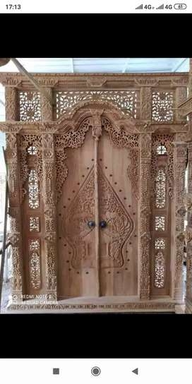 Pintu kusen gebyok kayu jati gijal