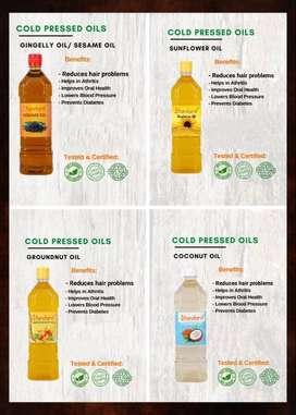 STANDARD COLD PRESSED OILS - TIL,COCONUT,GROUNDNUT AND SUNFLOWER OIL
