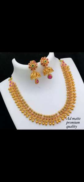 Matte necklace set with jhumkas