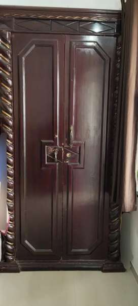 Brown Color Carved heavy Wooden Double Door Wardrobe